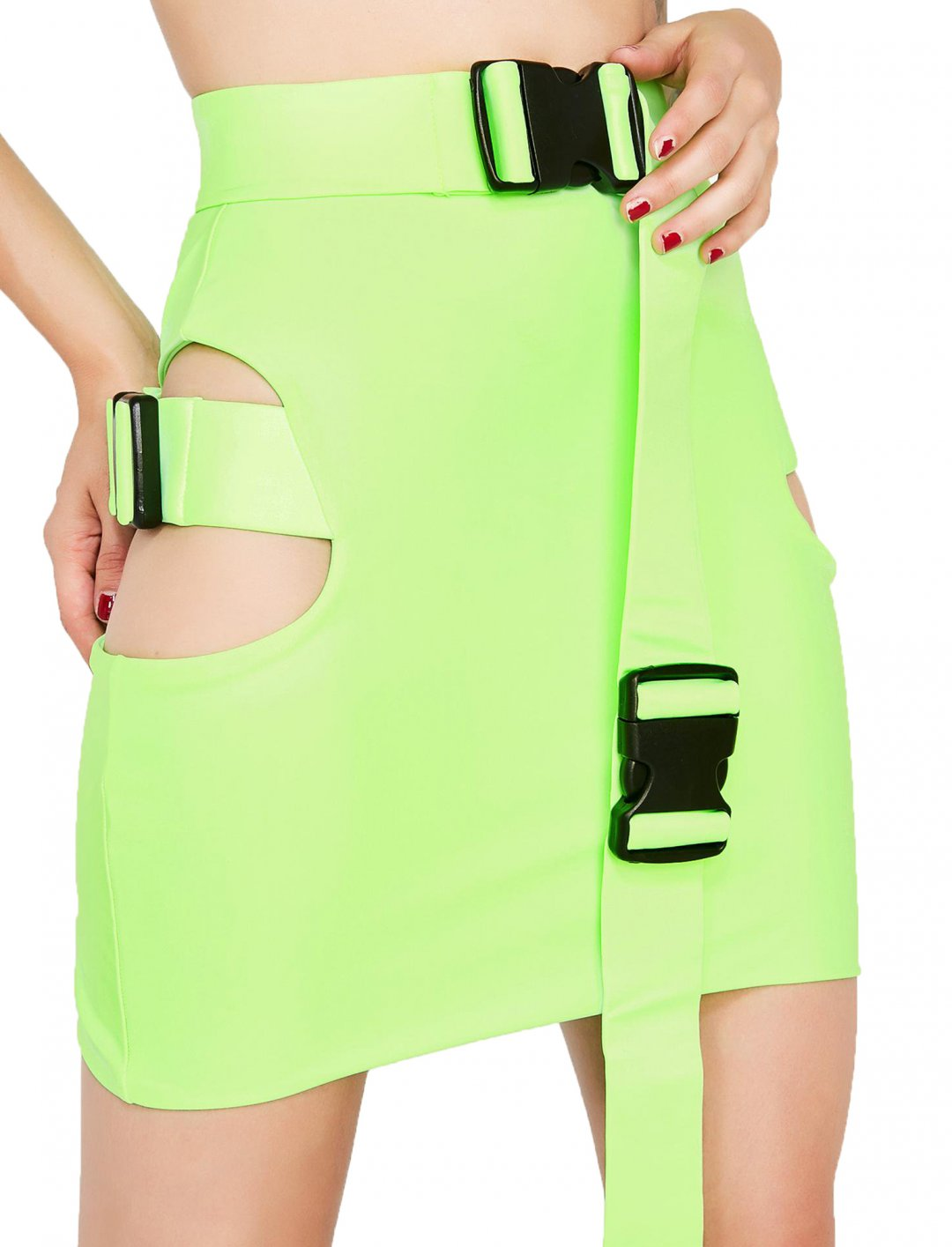 "Green Buckle Skirt {""id"":5,""product_section_id"":1,""name"":""Clothing"",""order"":5} Lipt The Label X Dolls Kill"