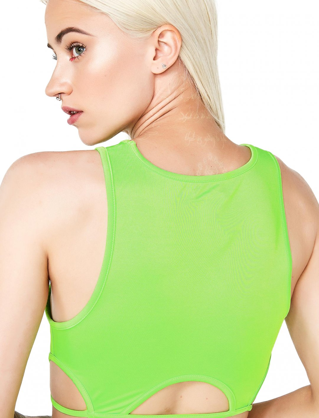 "Green Cutout Crop Top {""id"":5,""product_section_id"":1,""name"":""Clothing"",""order"":5} Club Exx"