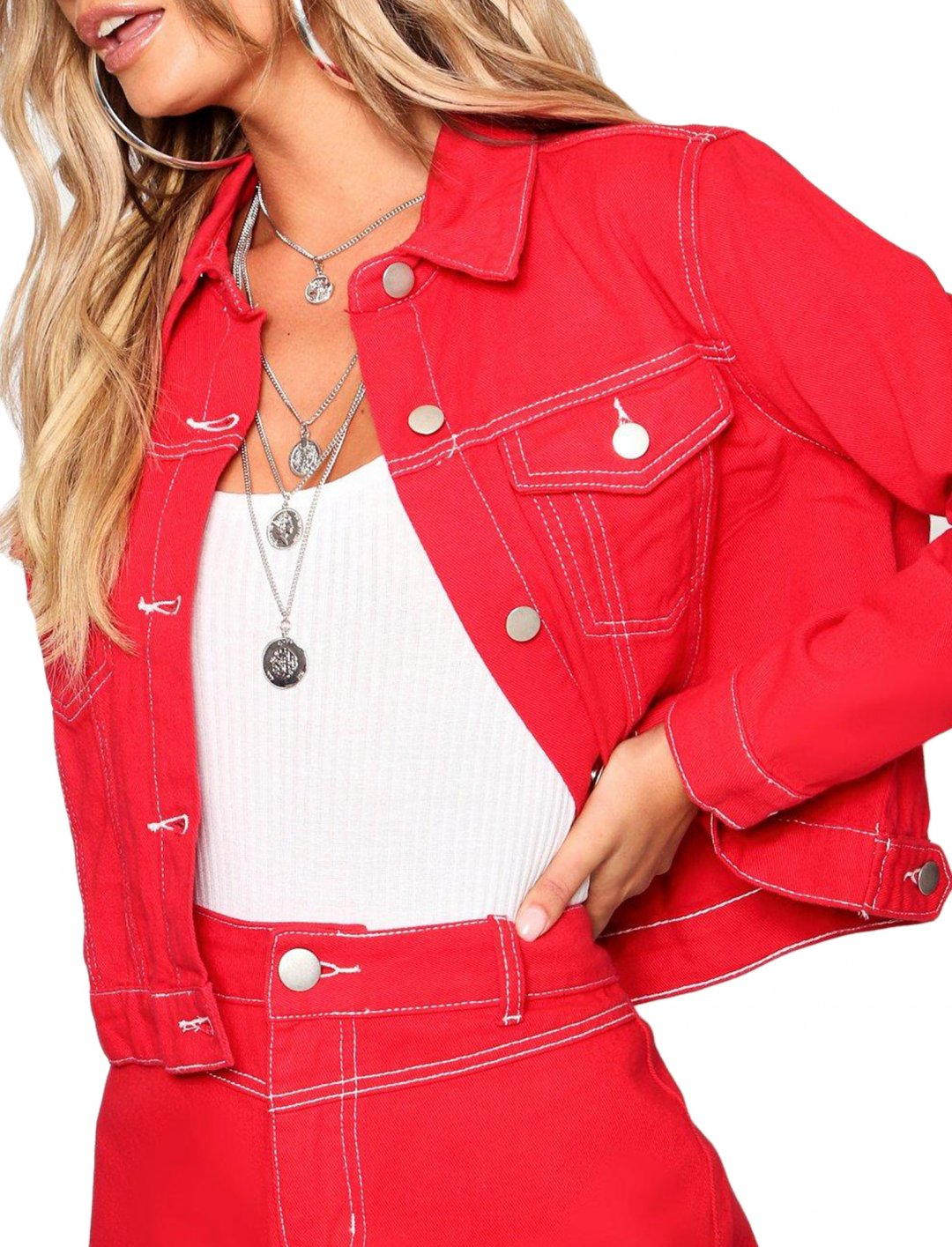 """Cropped Denim Jacket In Red {""""id"""":5,""""product_section_id"""":1,""""name"""":""""Clothing"""",""""order"""":5} boohoo"""