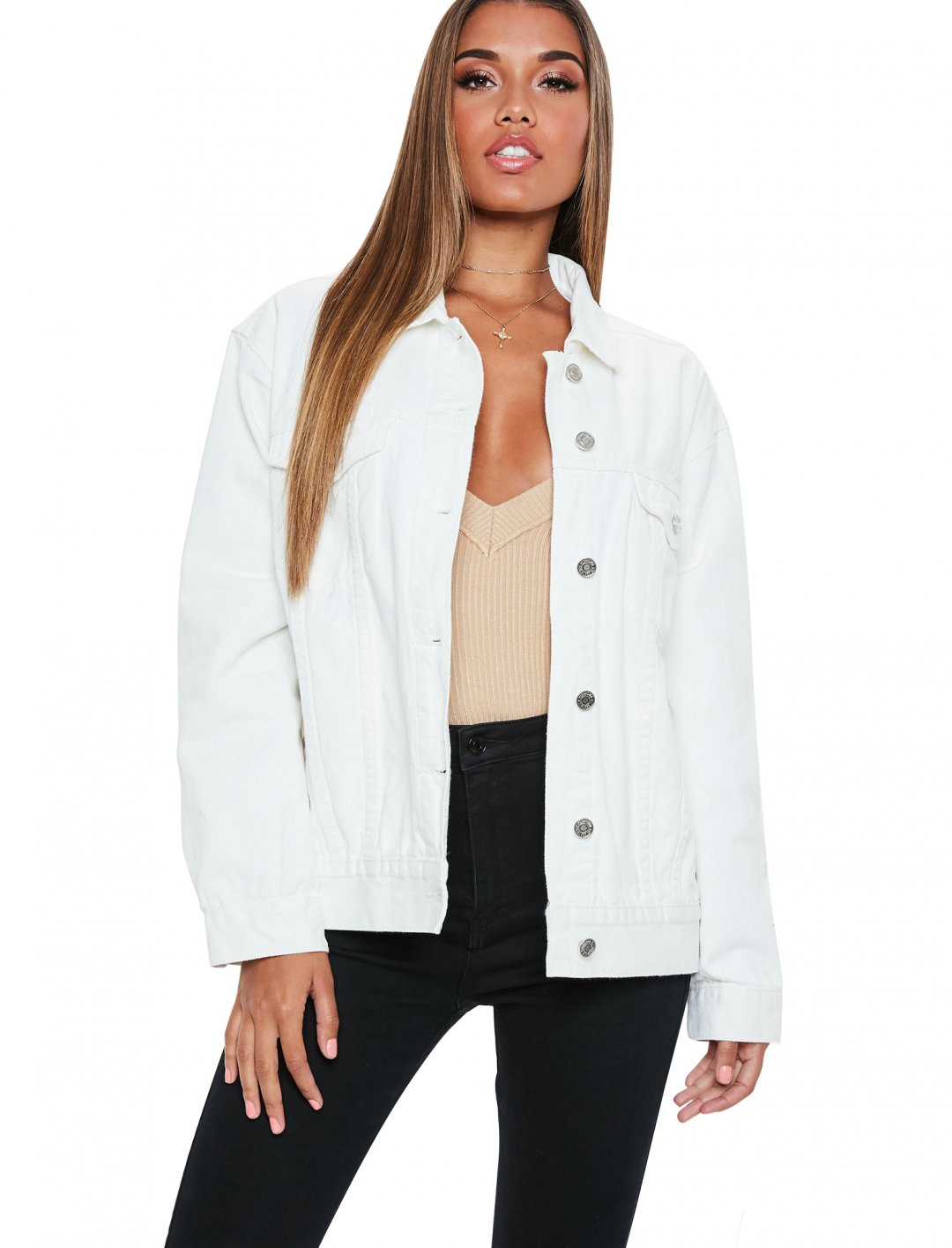 """Denim Jacket In White {""""id"""":5,""""product_section_id"""":1,""""name"""":""""Clothing"""",""""order"""":5} Missguided"""