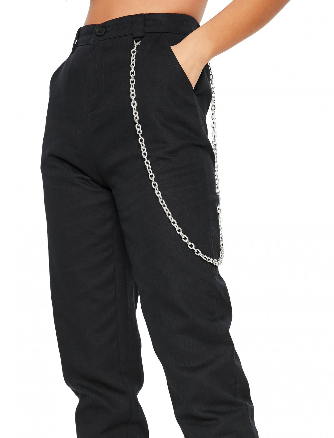 "Black Chain Cargo Trousers {""id"":5,""product_section_id"":1,""name"":""Clothing"",""order"":5} Missguided"