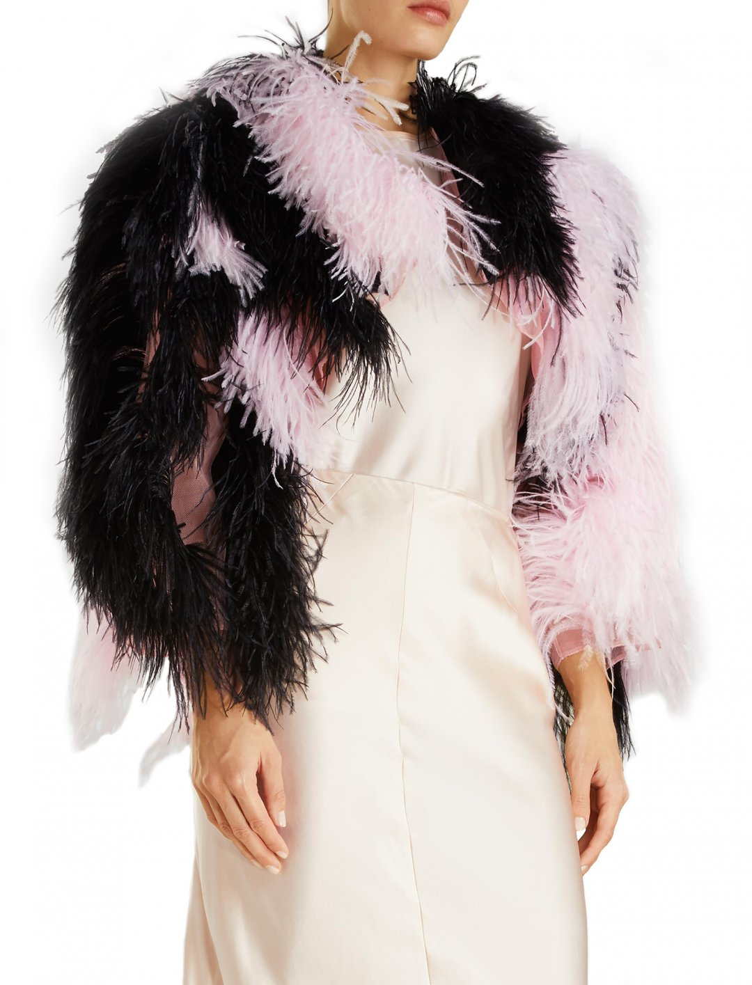 "Imani's Ostrich Feather Jacket {""id"":5,""product_section_id"":1,""name"":""Clothing"",""order"":5} Marques' Almeida"