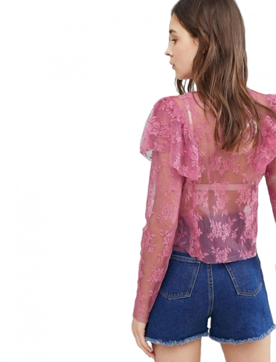 "Lace Top With Frills {""id"":5,""product_section_id"":1,""name"":""Clothing"",""order"":5} Glamorous"