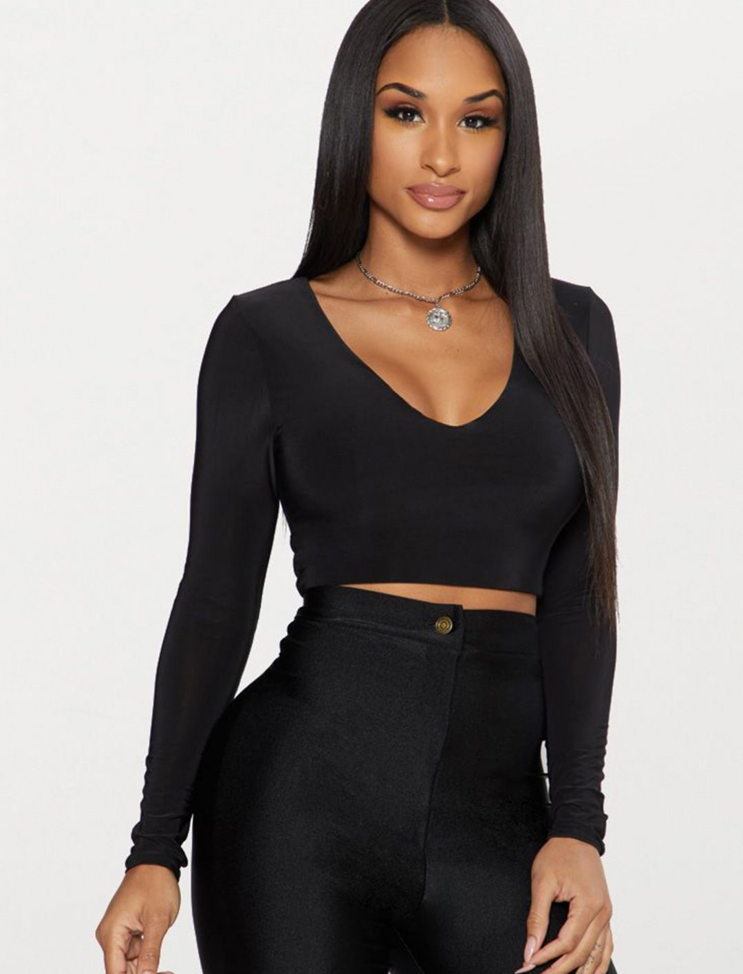 "Long Sleeve V Neck Crop Top {""id"":5,""product_section_id"":1,""name"":""Clothing"",""order"":5} PLT"