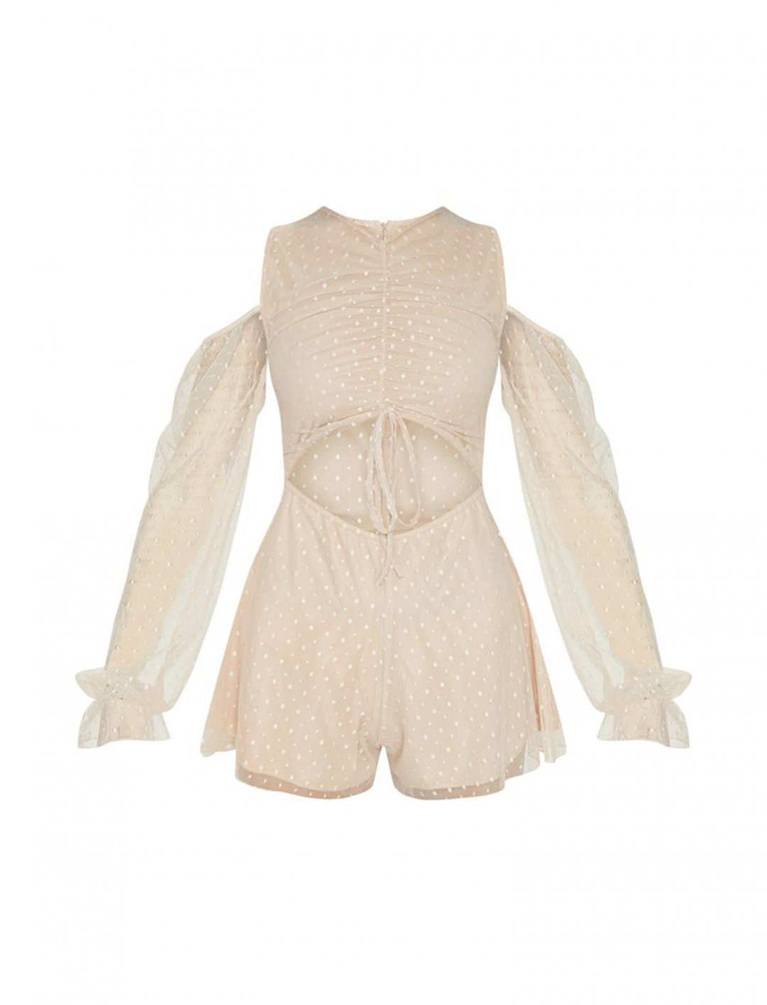 "Mesh Cold Shoulder Playsuit {""id"":5,""product_section_id"":1,""name"":""Clothing"",""order"":5} PLT"
