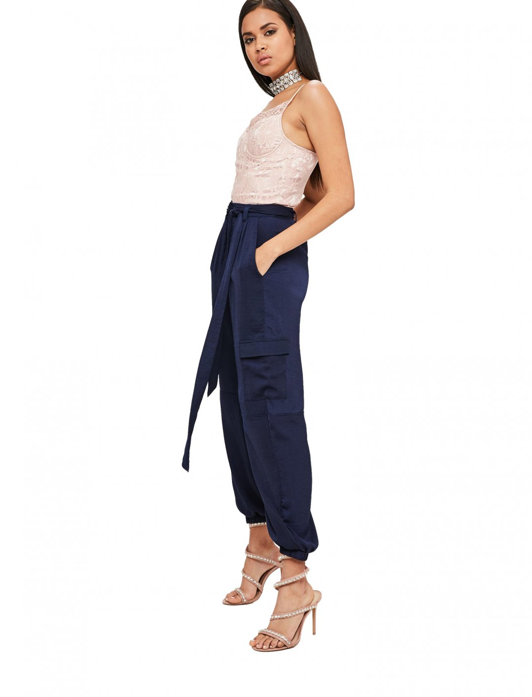 "Navy Satin Cargo Pants {""id"":5,""product_section_id"":1,""name"":""Clothing"",""order"":5} Carli Bybel x Missguided"