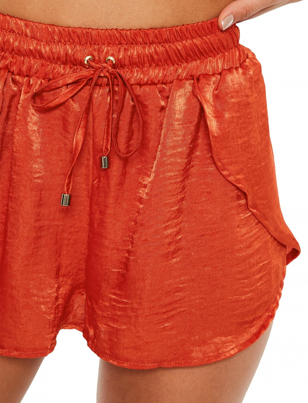 "Orange Satin Shorts {""id"":5,""product_section_id"":1,""name"":""Clothing"",""order"":5} Missguided"
