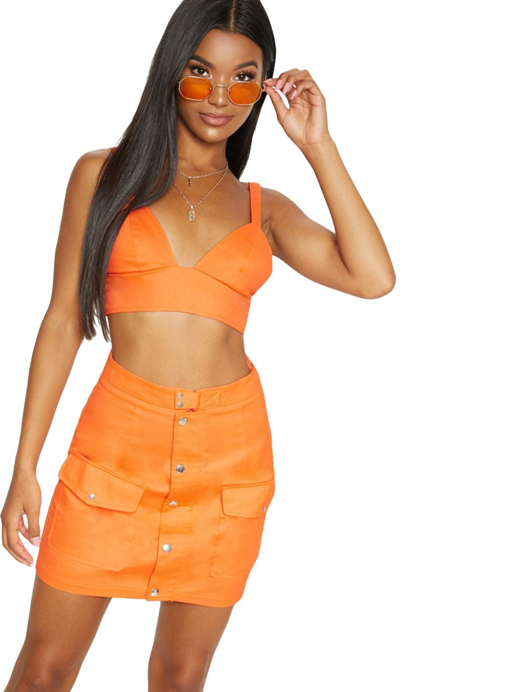 "Orange Strappy Bralet {""id"":5,""product_section_id"":1,""name"":""Clothing"",""order"":5} Pretty Little Thing"