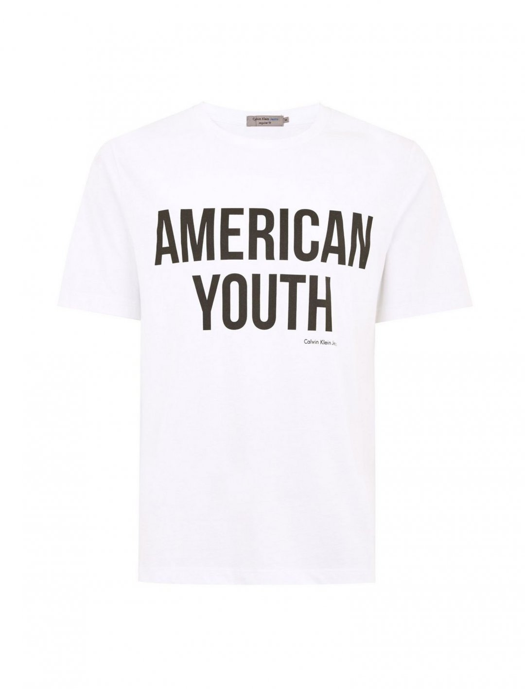 "White 'American Youth' T-Shirt {""id"":5,""product_section_id"":1,""name"":""Clothing"",""order"":5} Calvin Klein"