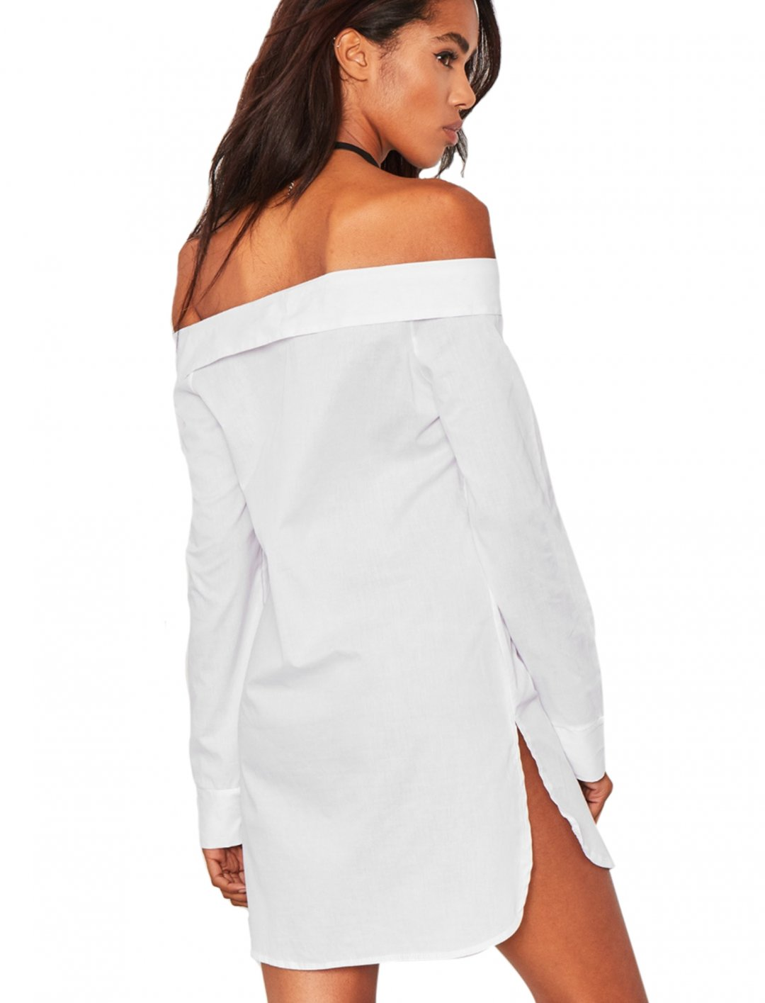 White Bardot Shirt Dress Clothing Missy Empire