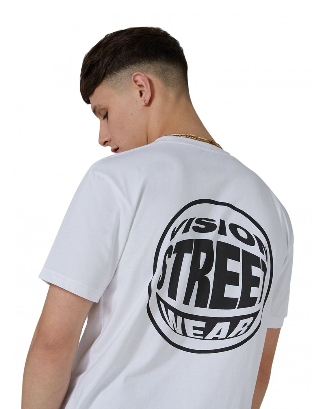"White 'Fish Eye' Essential T-Shirt {""id"":5,""product_section_id"":1,""name"":""Clothing"",""order"":5} Vision"