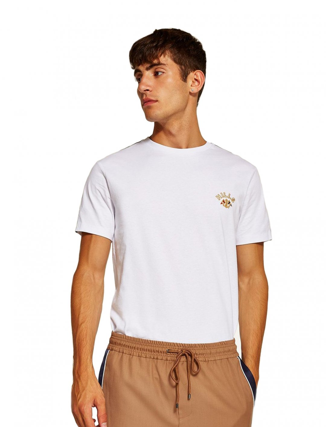 "White Taping T-Shirt {""id"":5,""product_section_id"":1,""name"":""Clothing"",""order"":5} Topman"