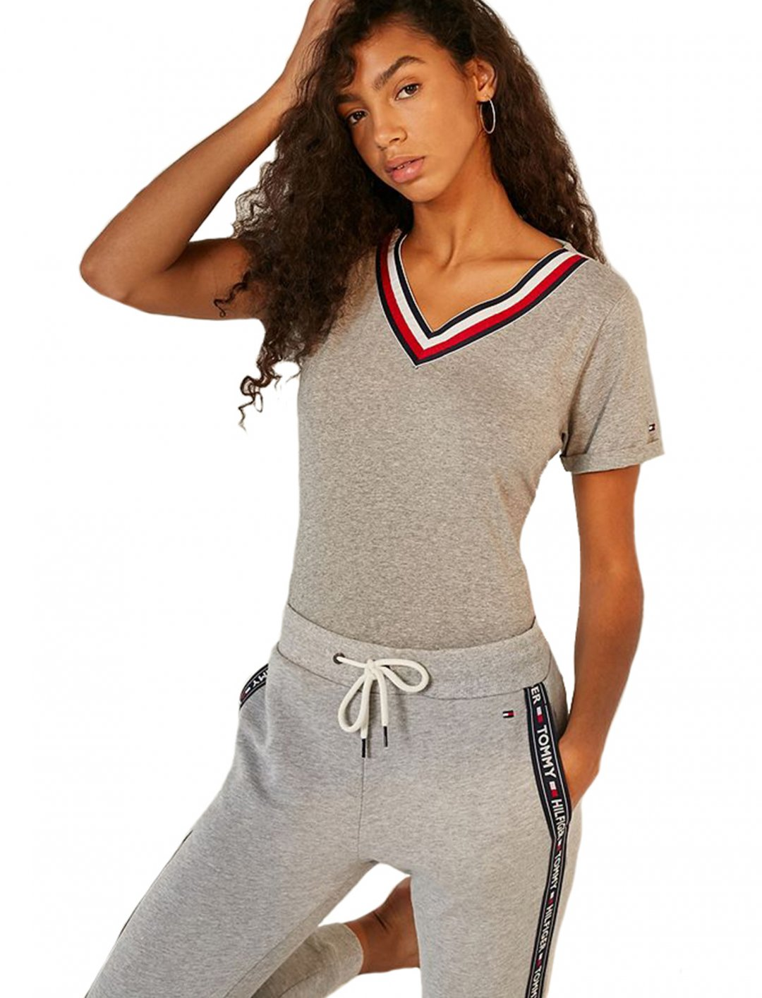 """Grey V-Neck T-Shirt {""""id"""":5,""""product_section_id"""":1,""""name"""":""""Clothing"""",""""order"""":5} Tommy Hilfiger"""