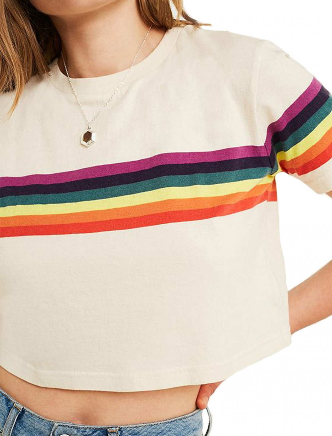 """Rainbow Stripe T-Shirt {""""id"""":5,""""product_section_id"""":1,""""name"""":""""Clothing"""",""""order"""":5} Urban Outfitters"""