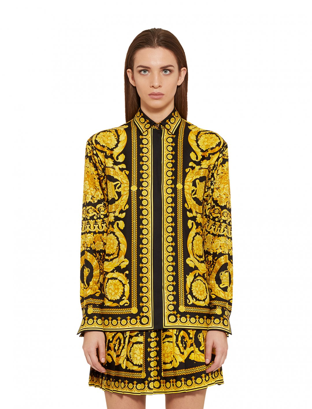 "Cardi B's Print Silk Shirt {""id"":5,""product_section_id"":1,""name"":""Clothing"",""order"":5} Versace"