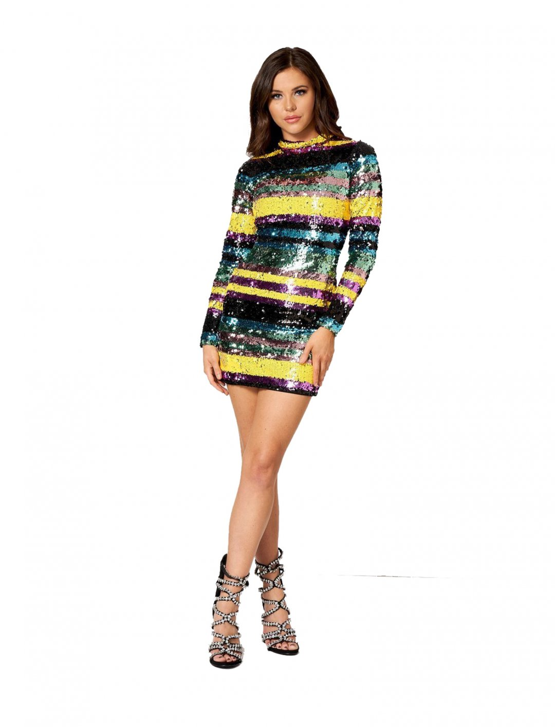 """Club L Sequin Striped Dress {""""id"""":5,""""product_section_id"""":1,""""name"""":""""Clothing"""",""""order"""":5} Club L"""