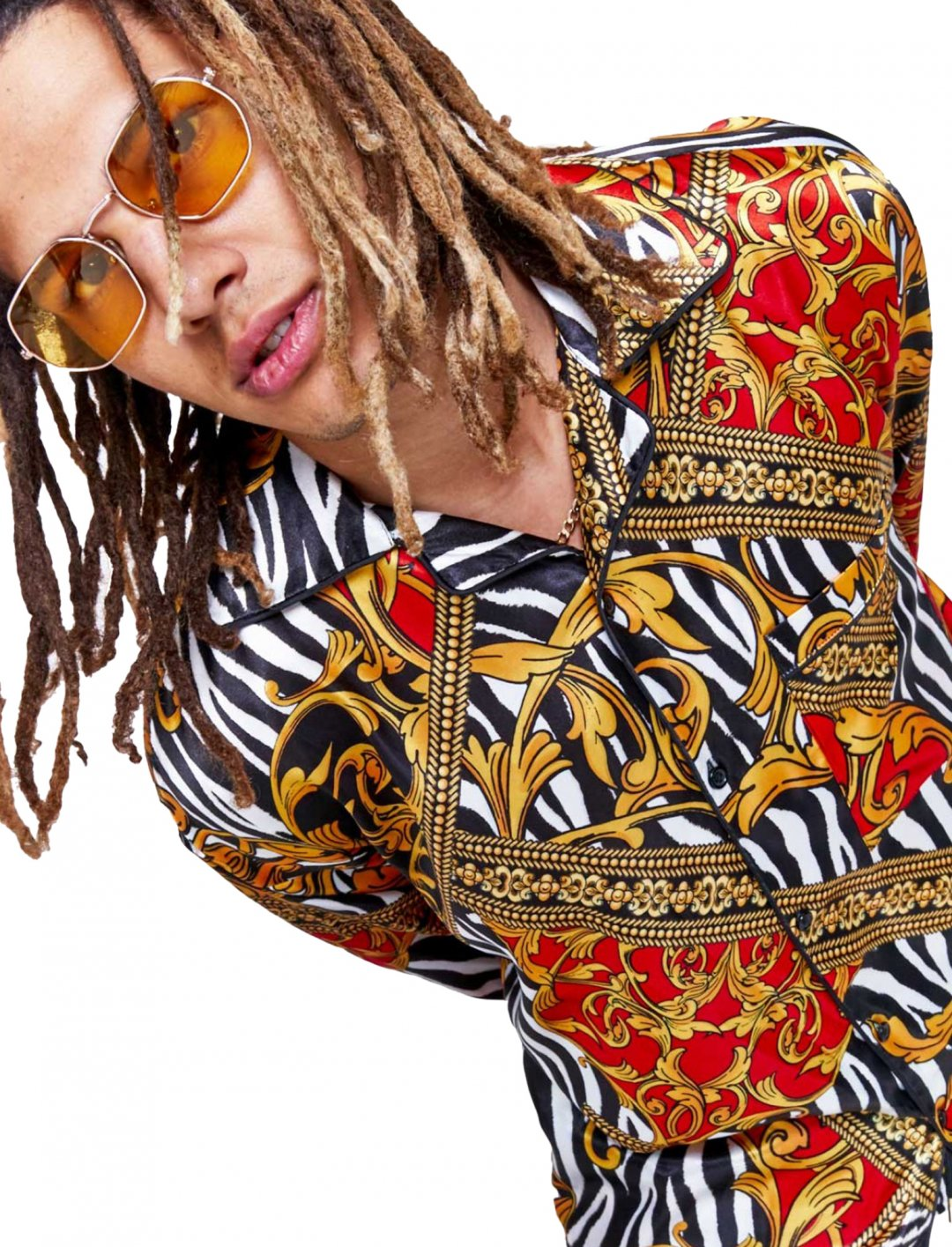 "Jaded London Zebra Baroque Print Shirt {""id"":5,""product_section_id"":1,""name"":""Clothing"",""order"":5} Jaded London"