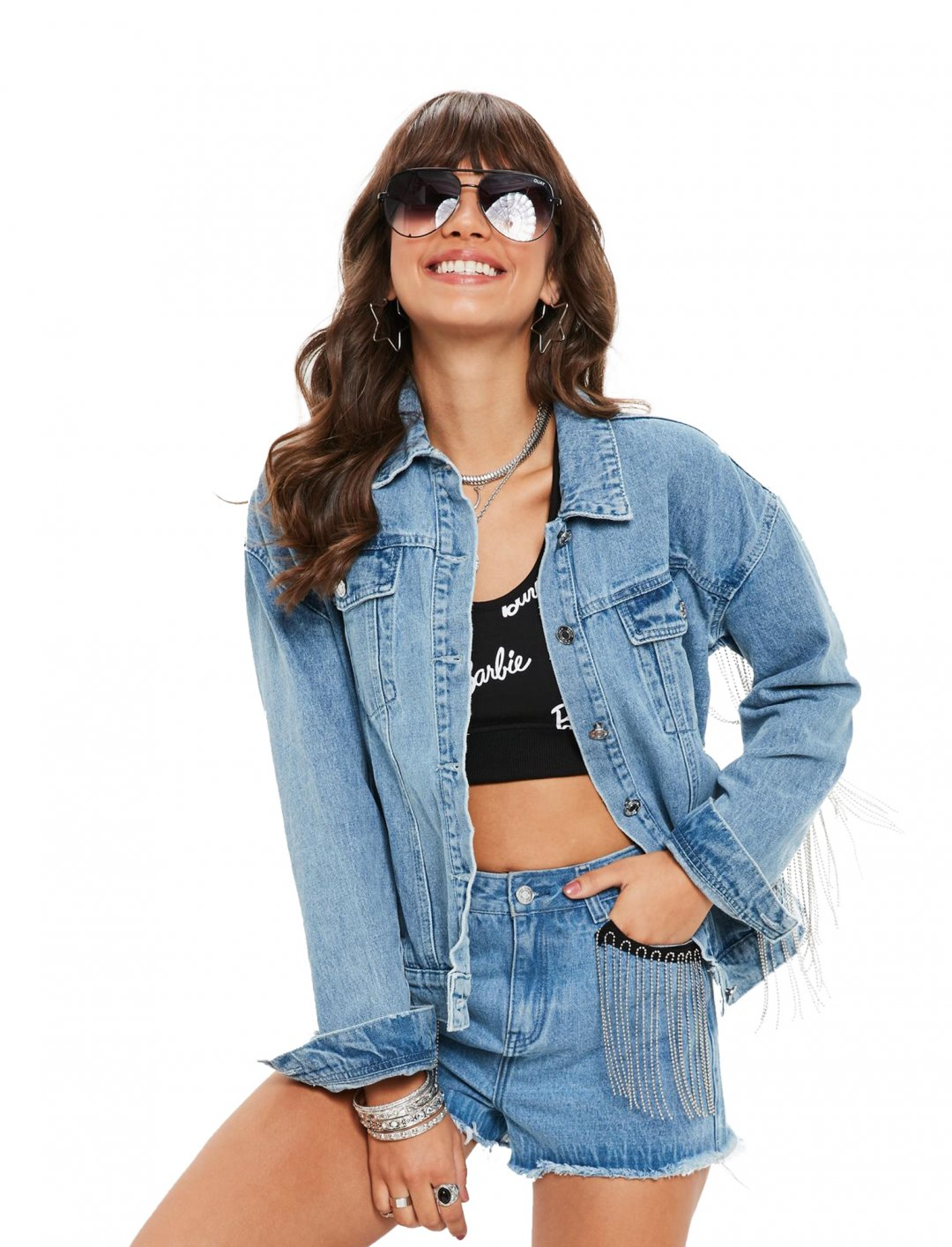 "Barbie x Missguided Denim Jacket {""id"":5,""product_section_id"":1,""name"":""Clothing"",""order"":5} Barbie x Missguided"