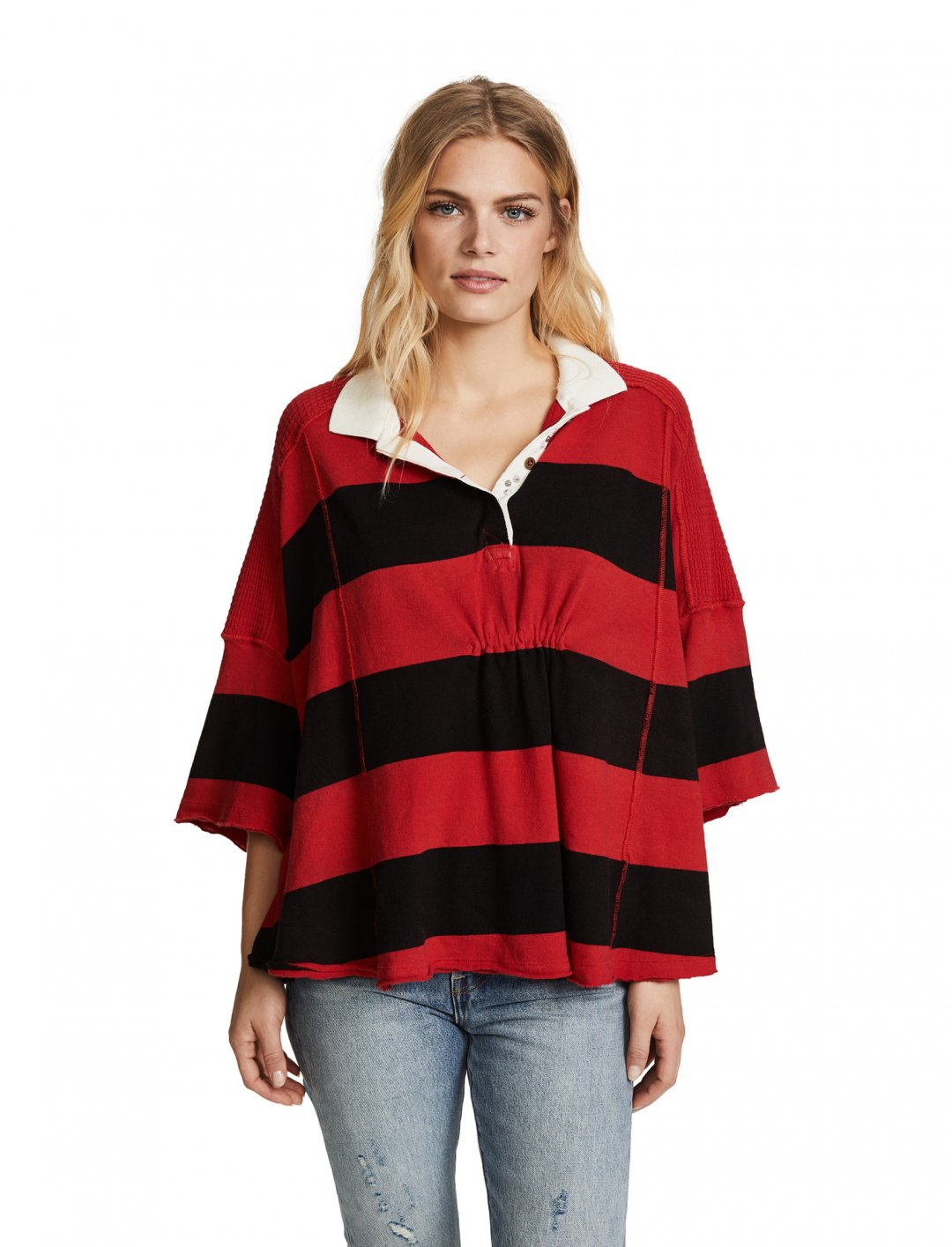 "Free People Stripe Rugby Shirt {""id"":5,""product_section_id"":1,""name"":""Clothing"",""order"":5} Free People"