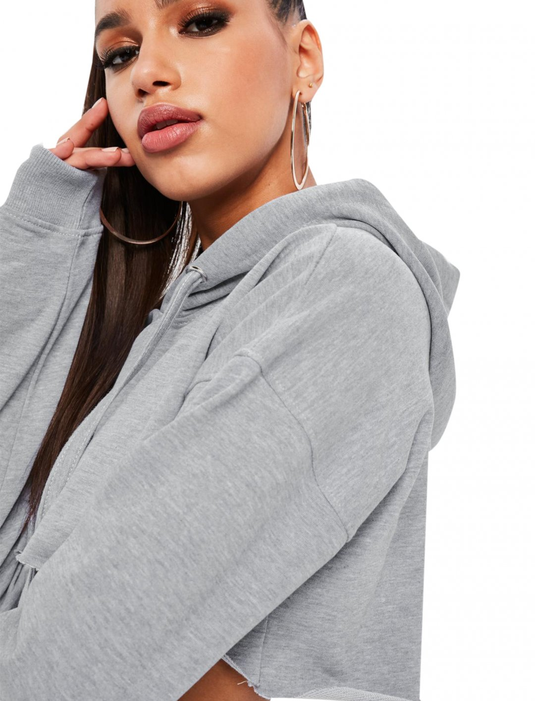"Grey Cropped Hoodie {""id"":5,""product_section_id"":1,""name"":""Clothing"",""order"":5} Missguided"