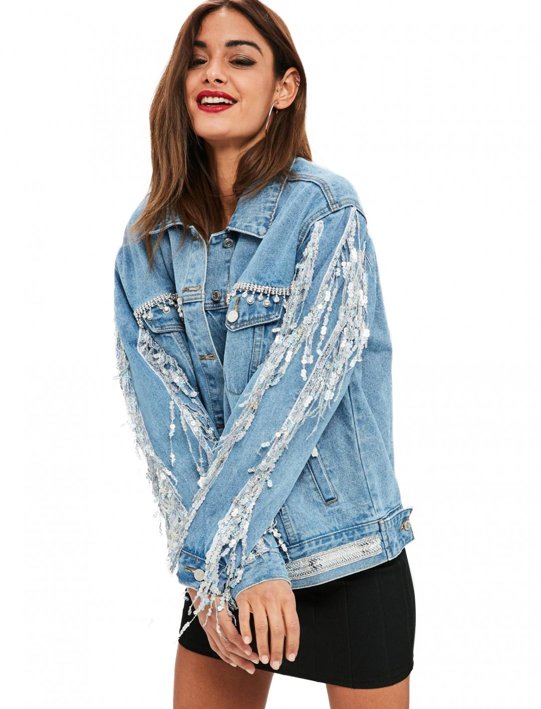 "Missguided Sequin Fringe Denim Jacket {""id"":5,""product_section_id"":1,""name"":""Clothing"",""order"":5} Missguided"