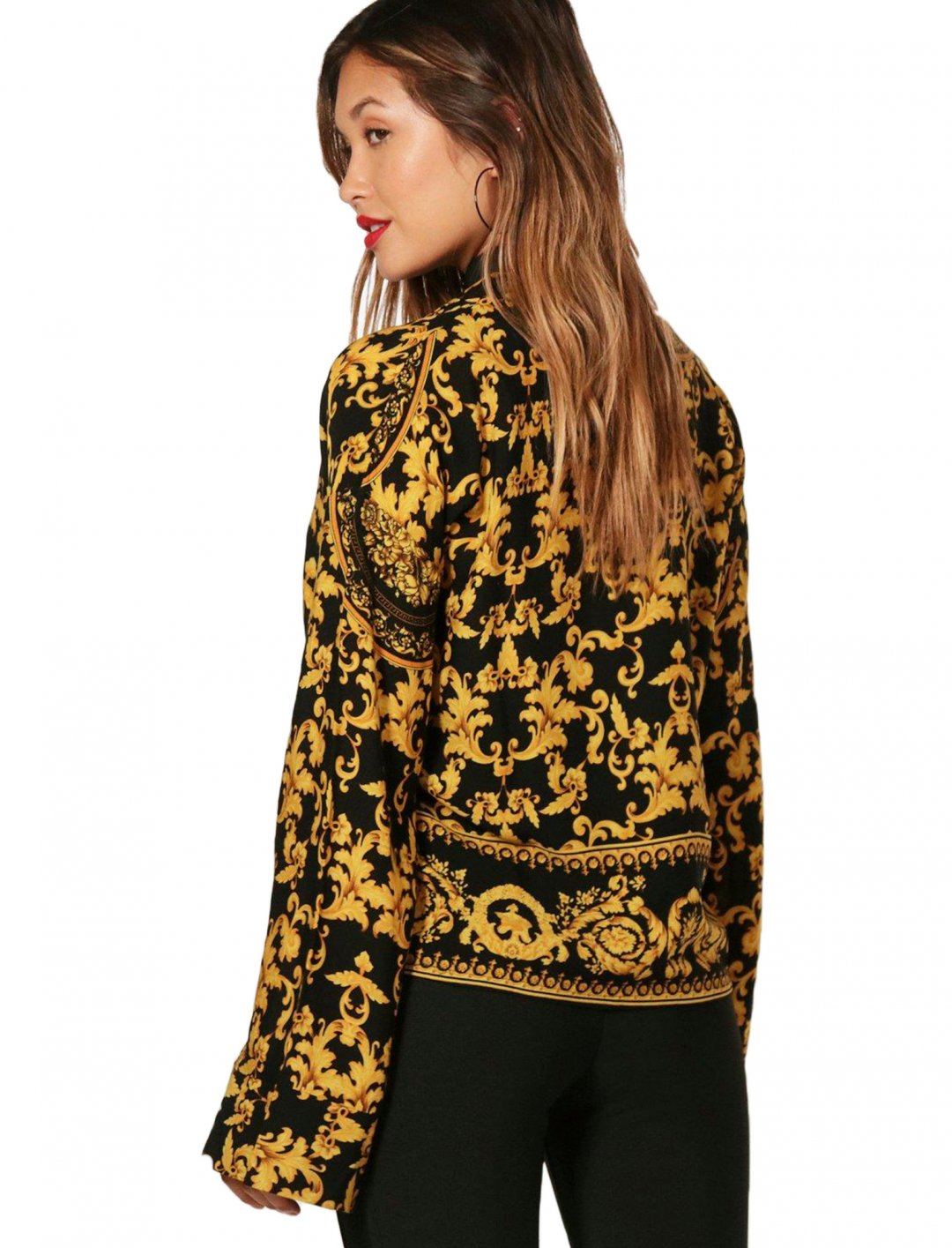 """Baroque Print Oversized Shirt {""""id"""":5,""""product_section_id"""":1,""""name"""":""""Clothing"""",""""order"""":5} boohoo"""