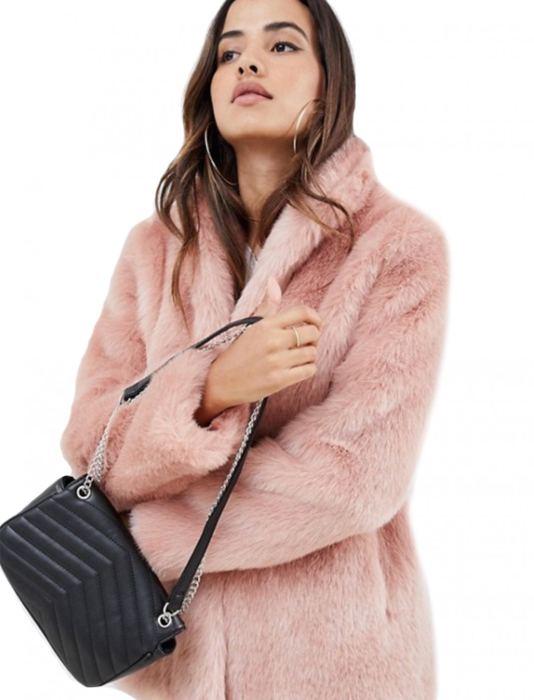 """Stand Collar Faux Fur Coat {""""id"""":5,""""product_section_id"""":1,""""name"""":""""Clothing"""",""""order"""":5} ASOS DESIGN"""