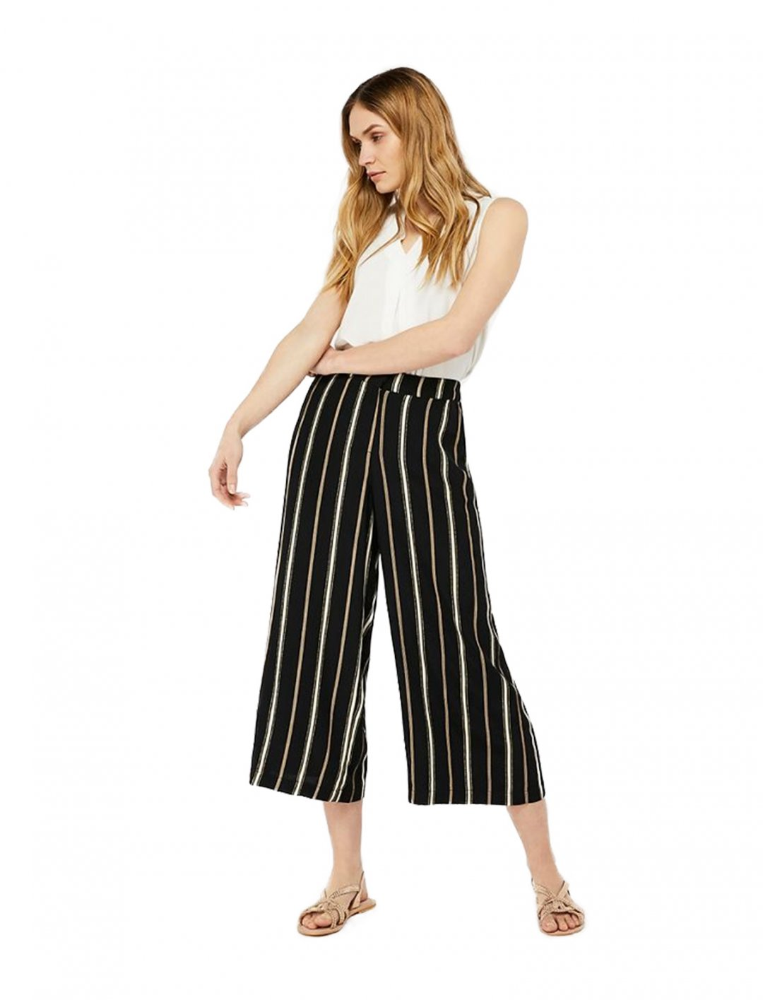 "Black Stripe Crop Trousers {""id"":5,""product_section_id"":1,""name"":""Clothing"",""order"":5} Monsoon"