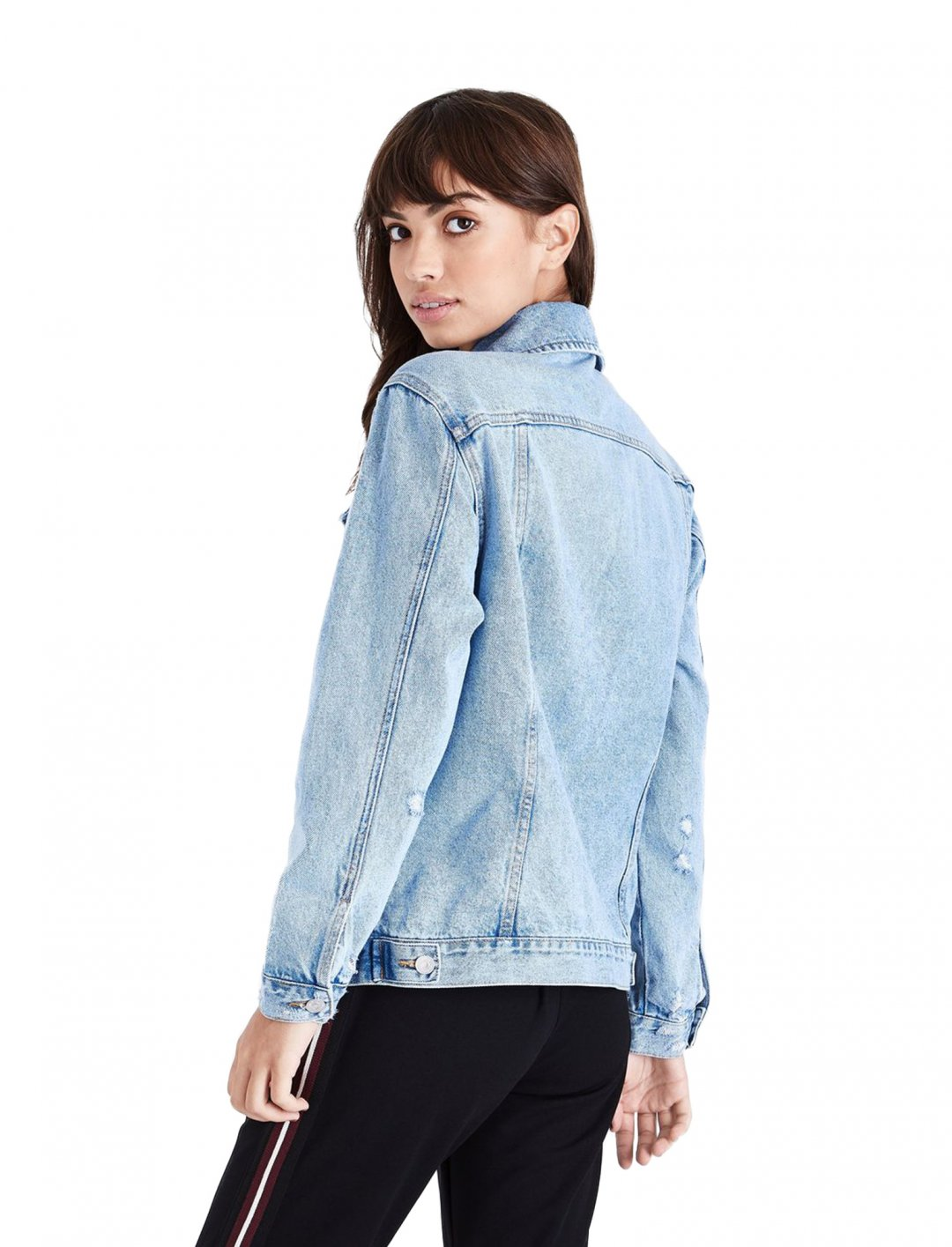 "Distressed Oversized Denim Jacket {""id"":5,""product_section_id"":1,""name"":""Clothing"",""order"":5} New Look"