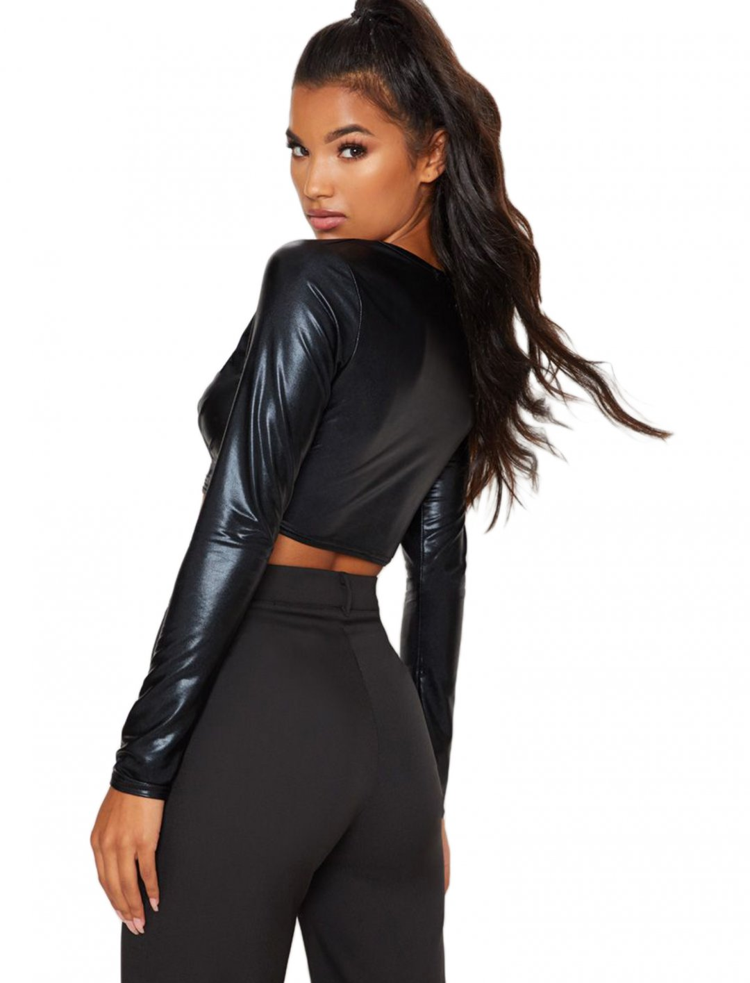 "Black PU Crop Top {""id"":5,""product_section_id"":1,""name"":""Clothing"",""order"":5} PLT"