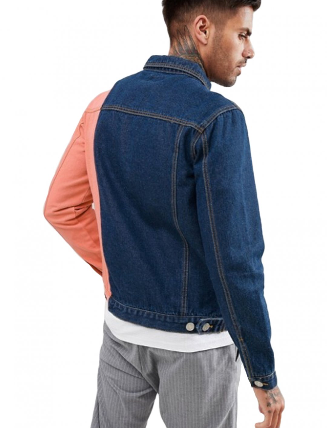 "Colourblock Denim Jacket {""id"":5,""product_section_id"":1,""name"":""Clothing"",""order"":5} boohooMAN"