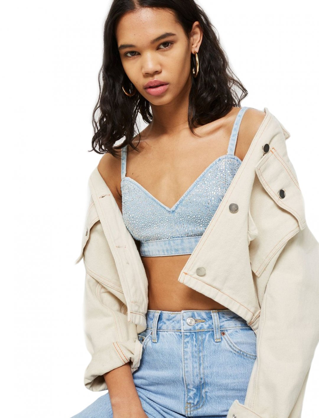 "Crystal Denim Bralet {""id"":5,""product_section_id"":1,""name"":""Clothing"",""order"":5} Topshop"