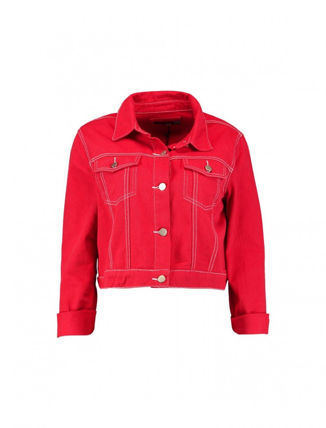 "Red Cropped Denim Jacket {""id"":5,""product_section_id"":1,""name"":""Clothing"",""order"":5} boohoo"