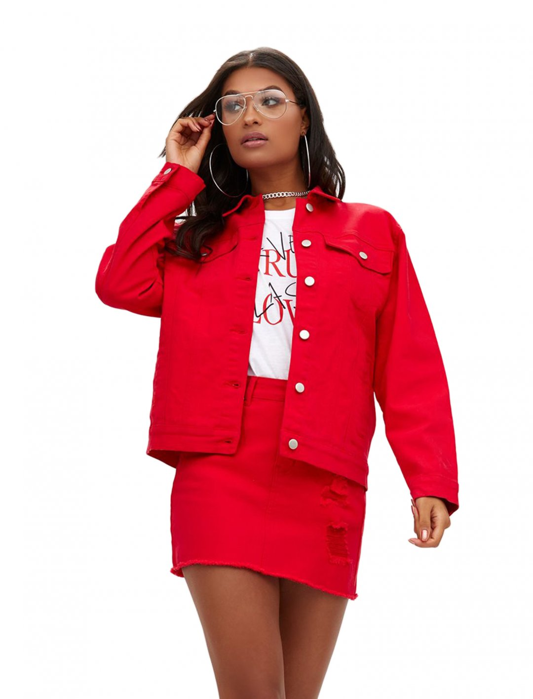 "Red Distressed Denim Jacket {""id"":5,""product_section_id"":1,""name"":""Clothing"",""order"":5} PLT"
