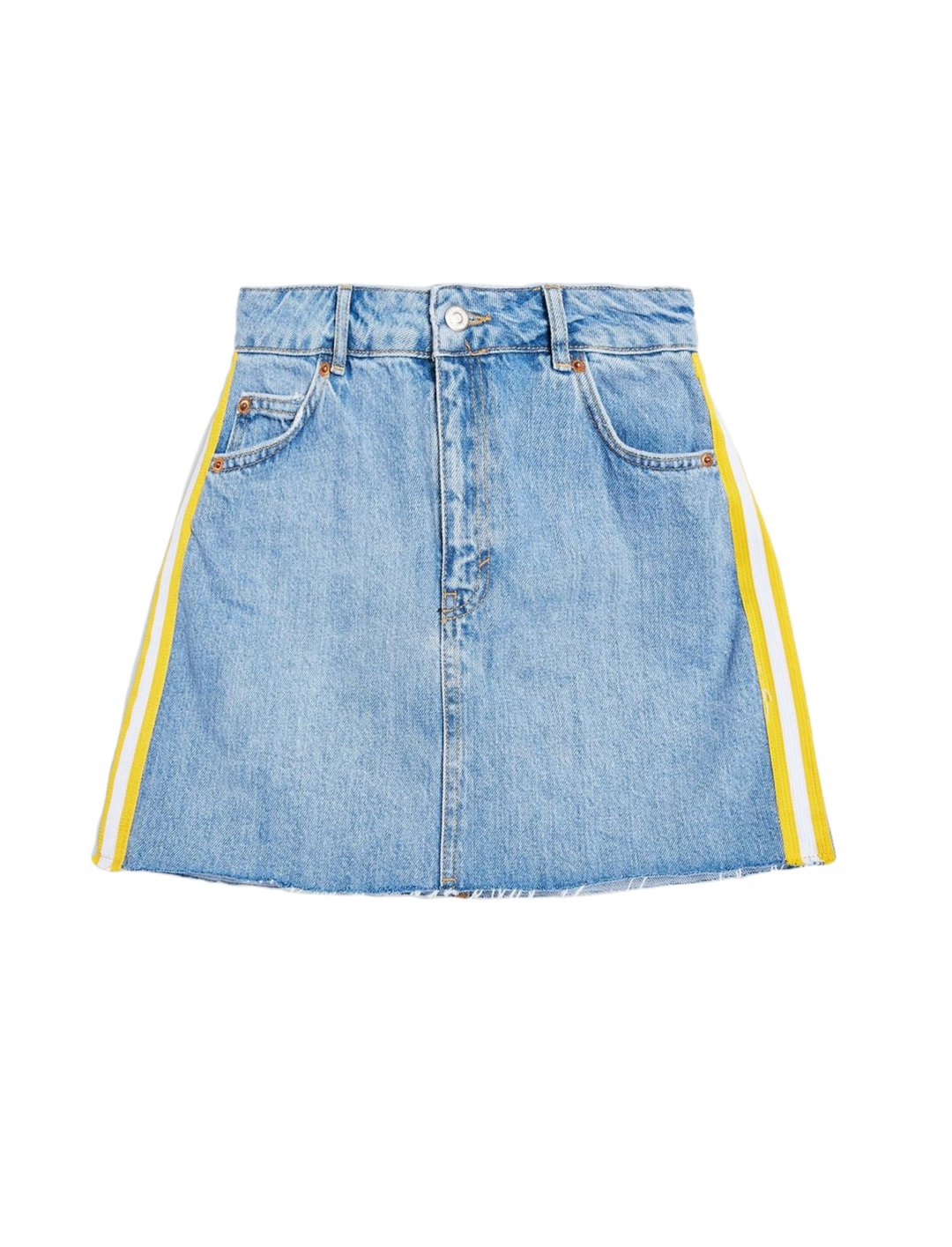 "Side Striped Denim Skirt {""id"":5,""product_section_id"":1,""name"":""Clothing"",""order"":5} Topshop"