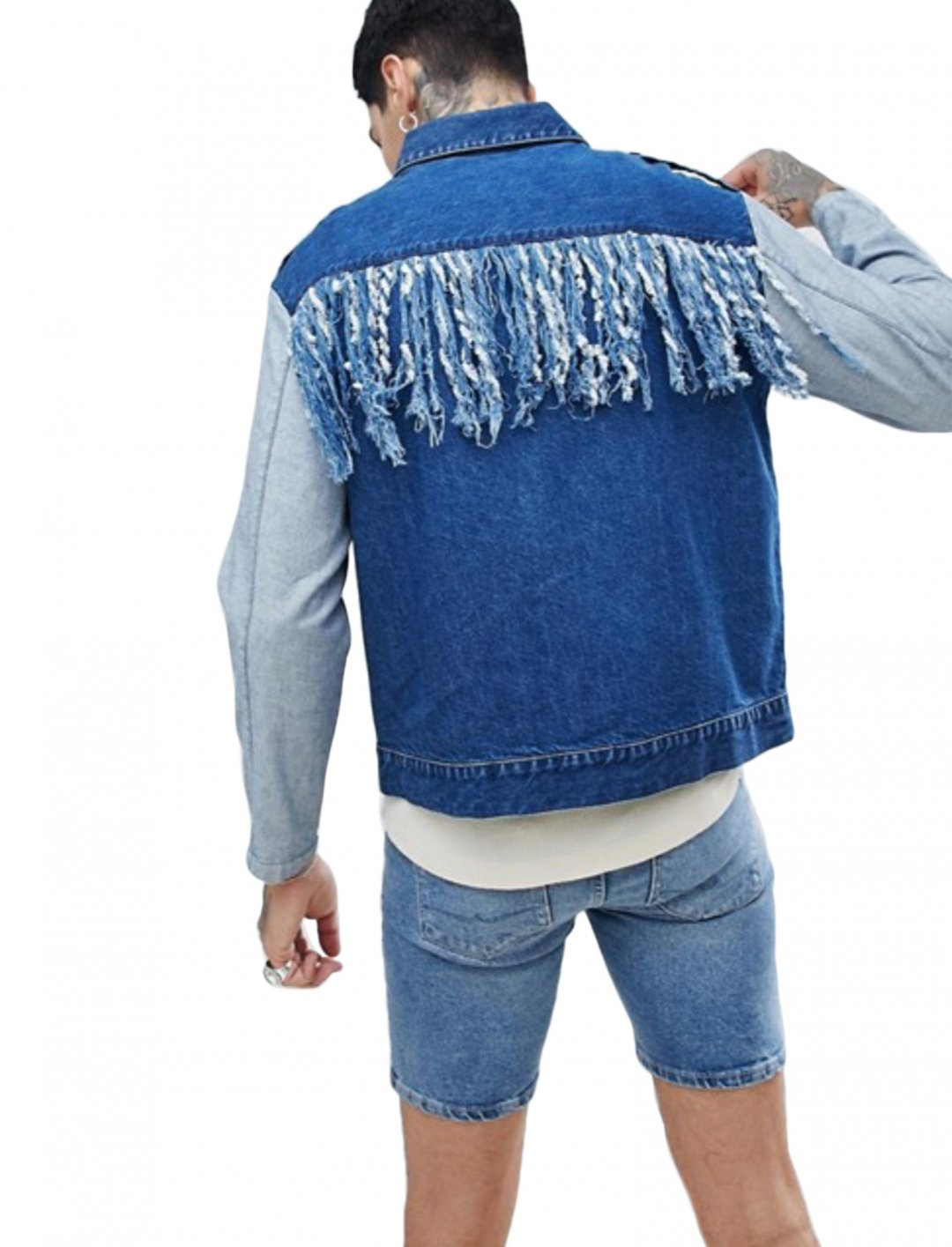 "Western Fringed Denim Jacket {""id"":5,""product_section_id"":1,""name"":""Clothing"",""order"":5} Sacred Hawk"