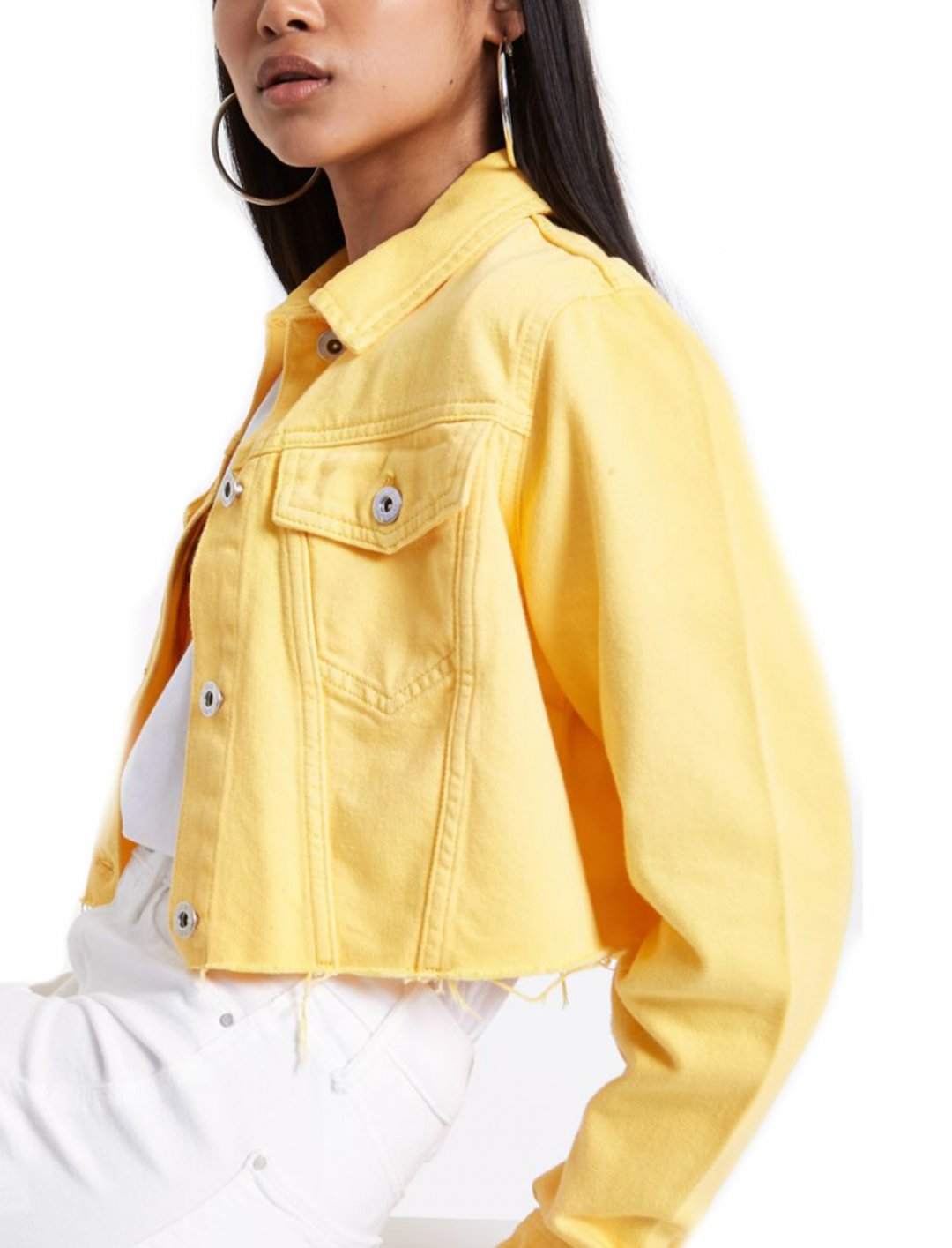 "Yellow Cropped Denim Jacket {""id"":5,""product_section_id"":1,""name"":""Clothing"",""order"":5} River Island"