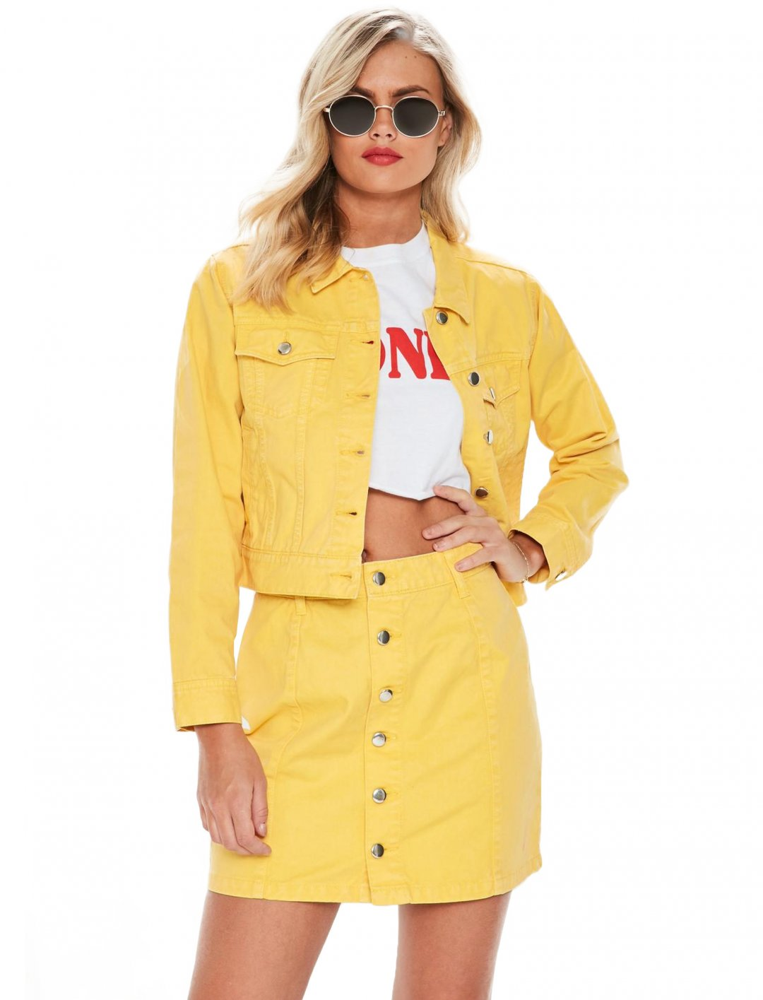 "Yellow Denim Skirt {""id"":5,""product_section_id"":1,""name"":""Clothing"",""order"":5} Missguided"