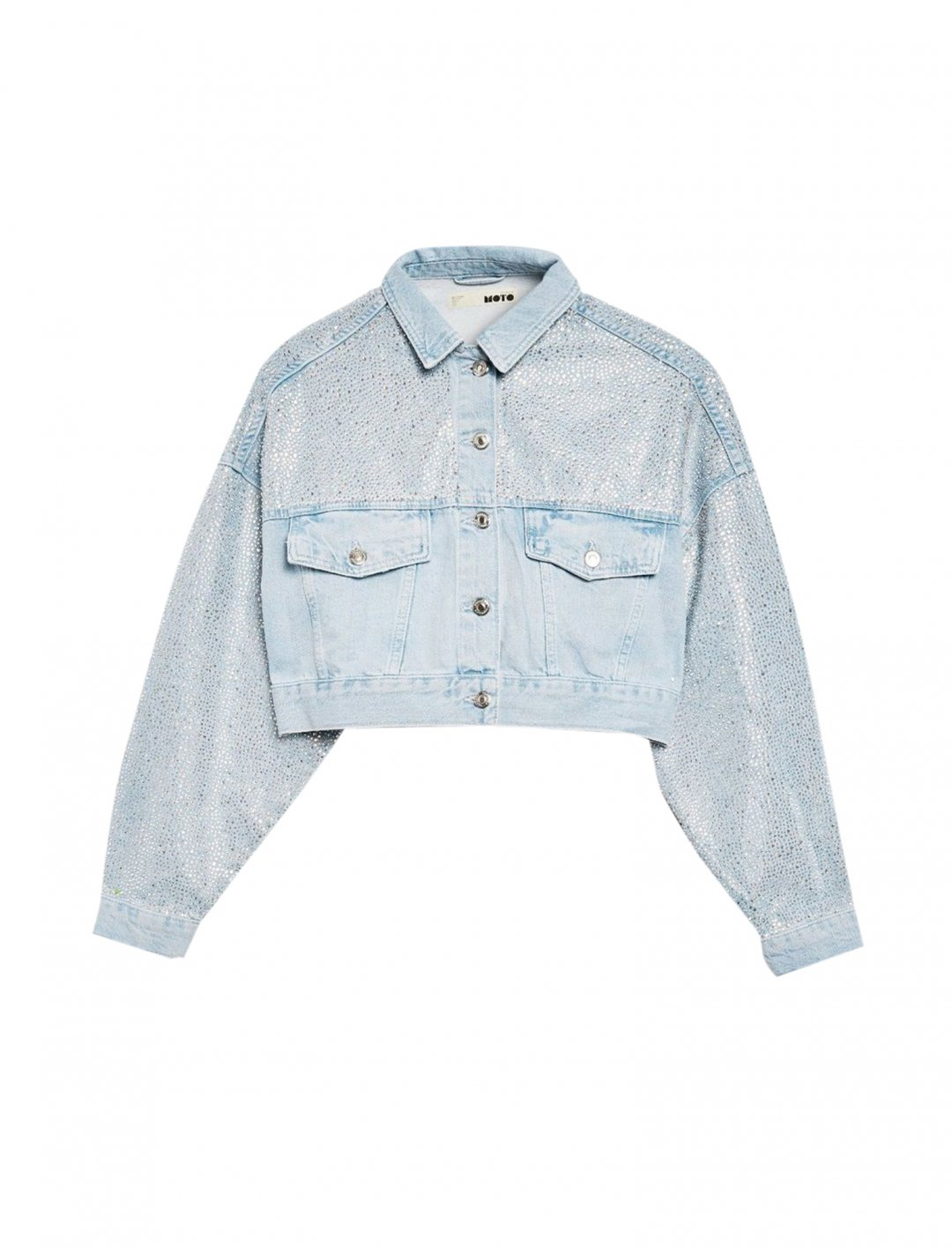 "Topshop Cropped Denim Jacket {""id"":5,""product_section_id"":1,""name"":""Clothing"",""order"":5} Topshop"