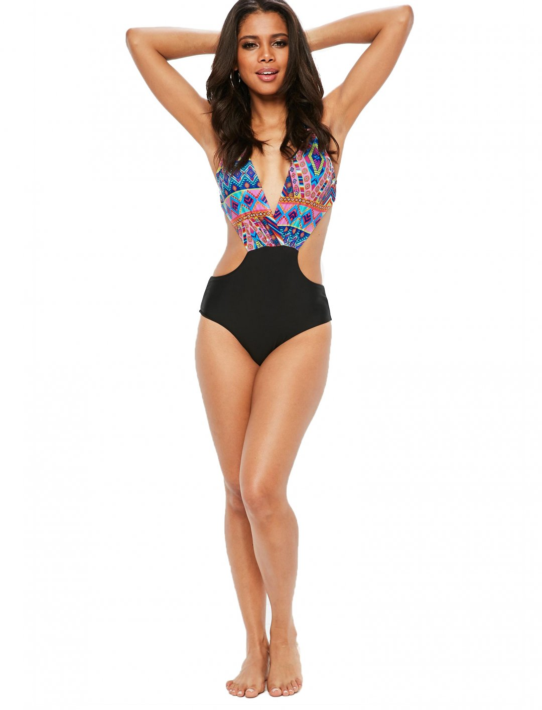 "Missguided Aztec Print Swimsuit {""id"":5,""product_section_id"":1,""name"":""Clothing"",""order"":5} Missguided"