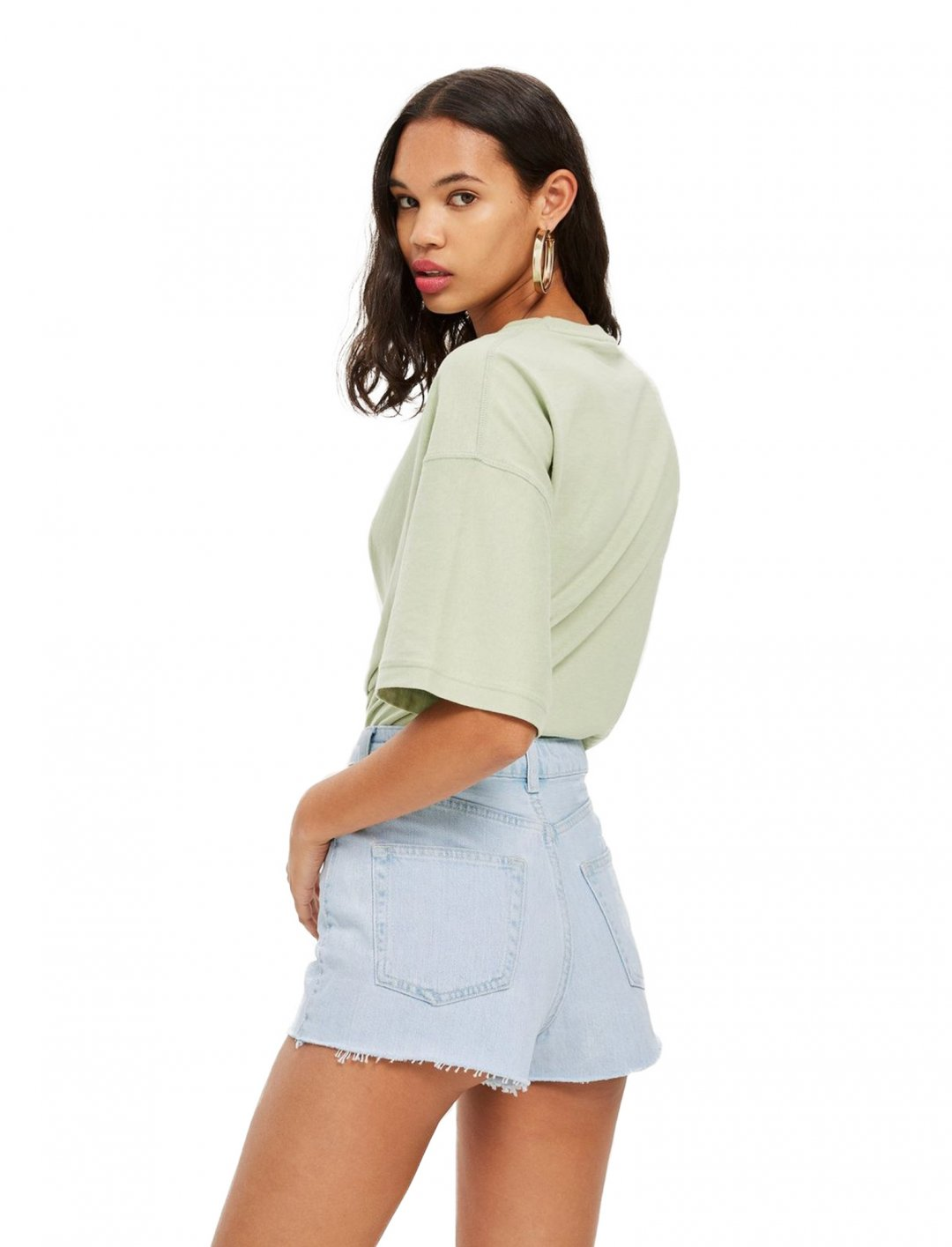 "Topshop Bleach Denim Mom Shorts {""id"":5,""product_section_id"":1,""name"":""Clothing"",""order"":5} Topshop"