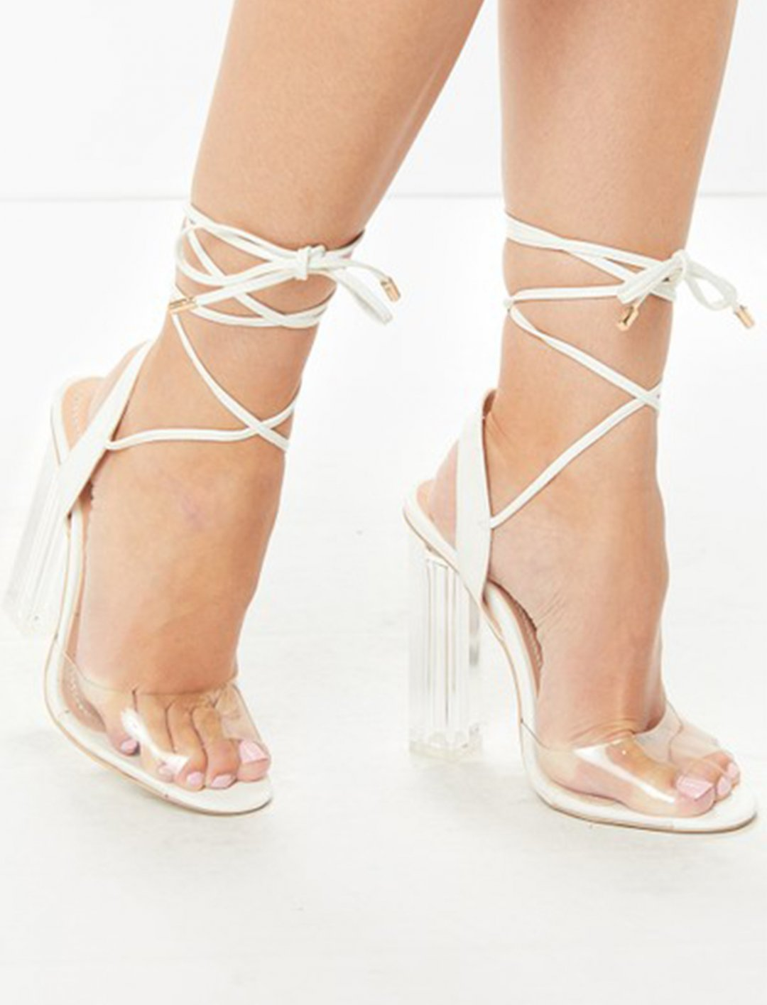 "Lace Up Clear Heels {""id"":12,""product_section_id"":1,""name"":""Shoes"",""order"":12} Miss Pap"