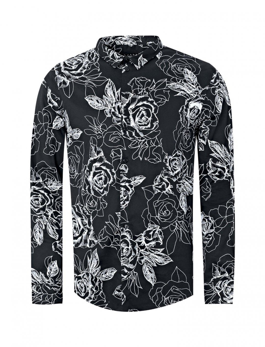 "Monochrome Rose Print Shirt {""id"":5,""product_section_id"":1,""name"":""Clothing"",""order"":5} boohoo"
