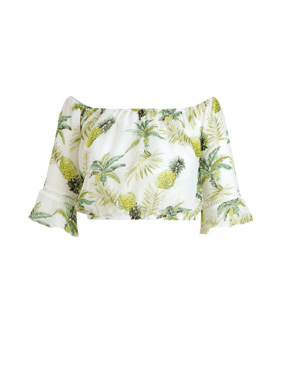 "Pineapple Print Crop Top {""id"":5,""product_section_id"":1,""name"":""Clothing"",""order"":5} boohoo"
