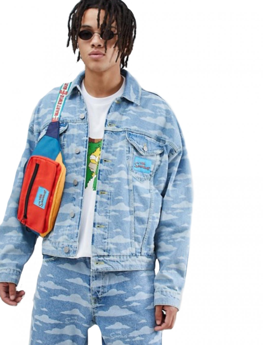 "Printed Denim Jacket {""id"":5,""product_section_id"":1,""name"":""Clothing"",""order"":5} The Simpsons x ASOS DESIGN"