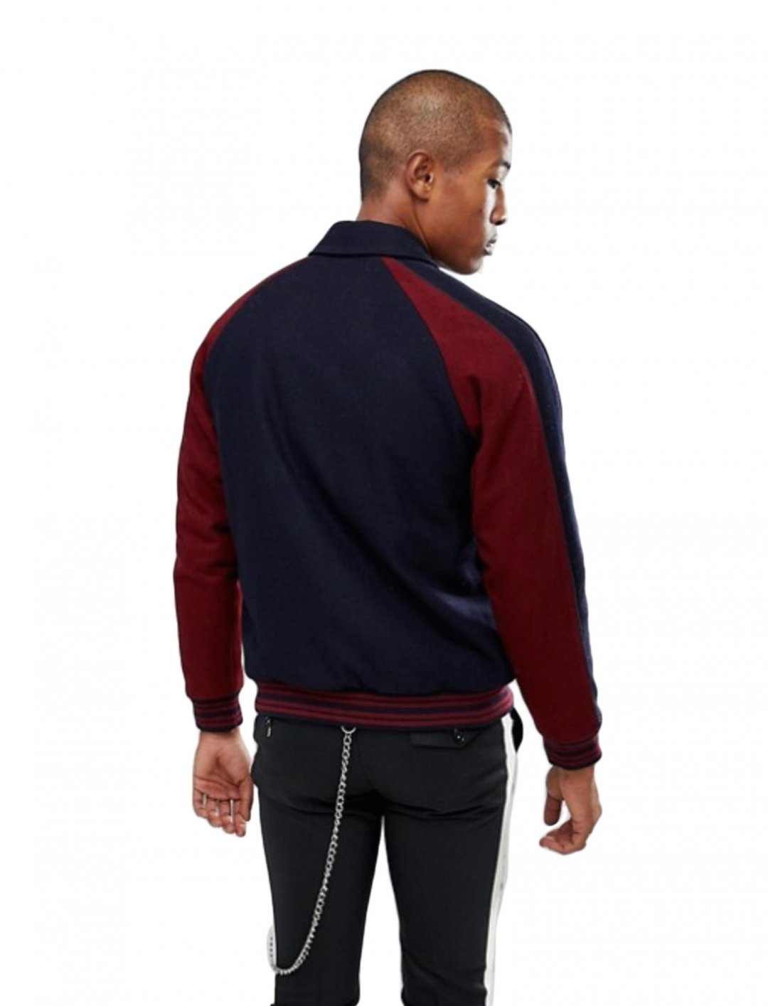 "Varsity Jacket In Burgundy {""id"":5,""product_section_id"":1,""name"":""Clothing"",""order"":5} ASOS DESIGN"