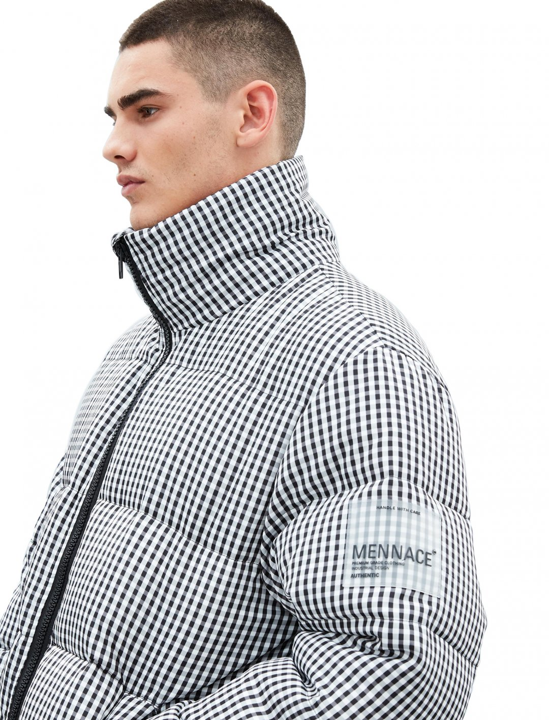 "White Gingham Puffer Jacket {""id"":5,""product_section_id"":1,""name"":""Clothing"",""order"":5} Mennace"