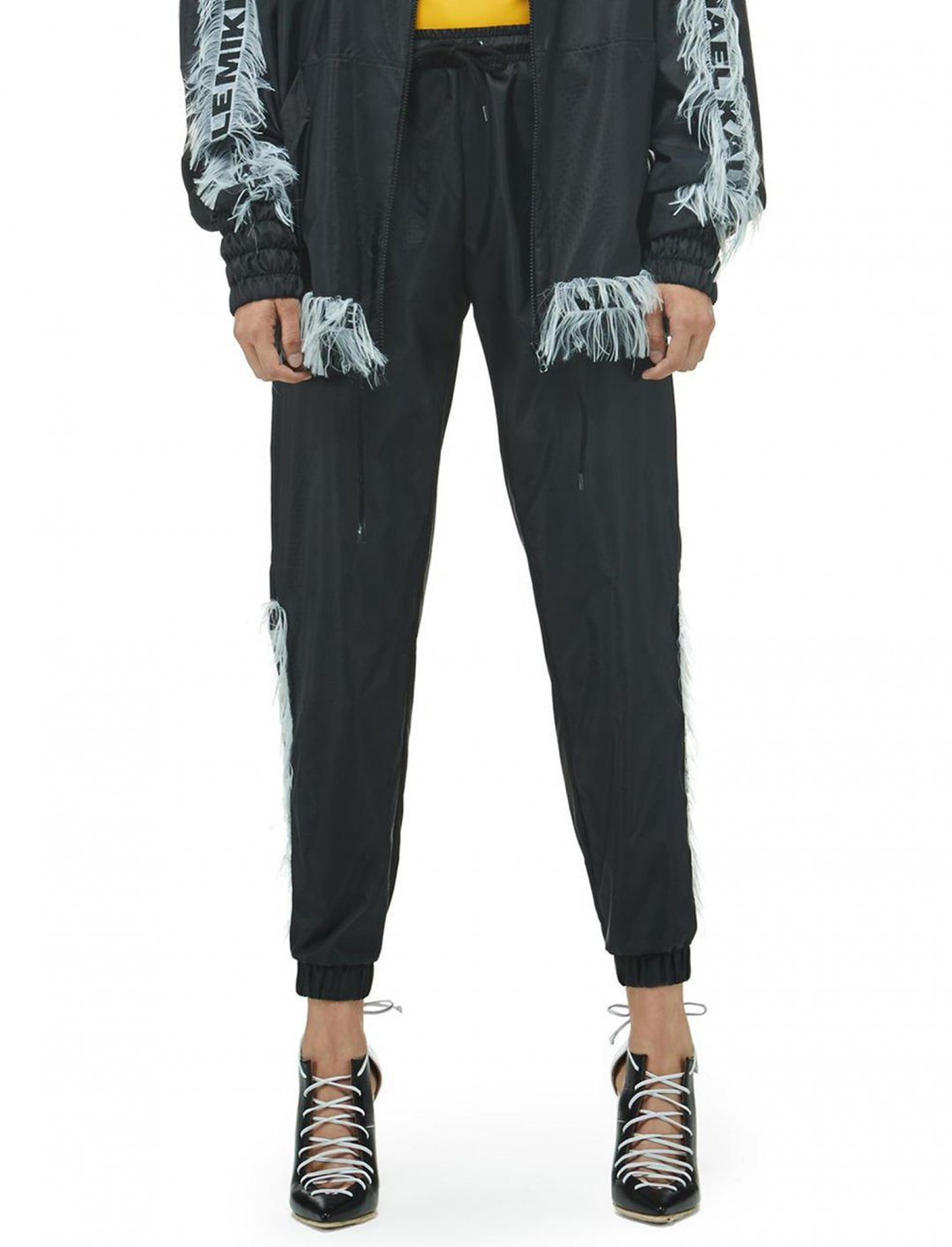 "Black Windbreaker Pant {""id"":5,""product_section_id"":1,""name"":""Clothing"",""order"":5} Mikhael Kale"
