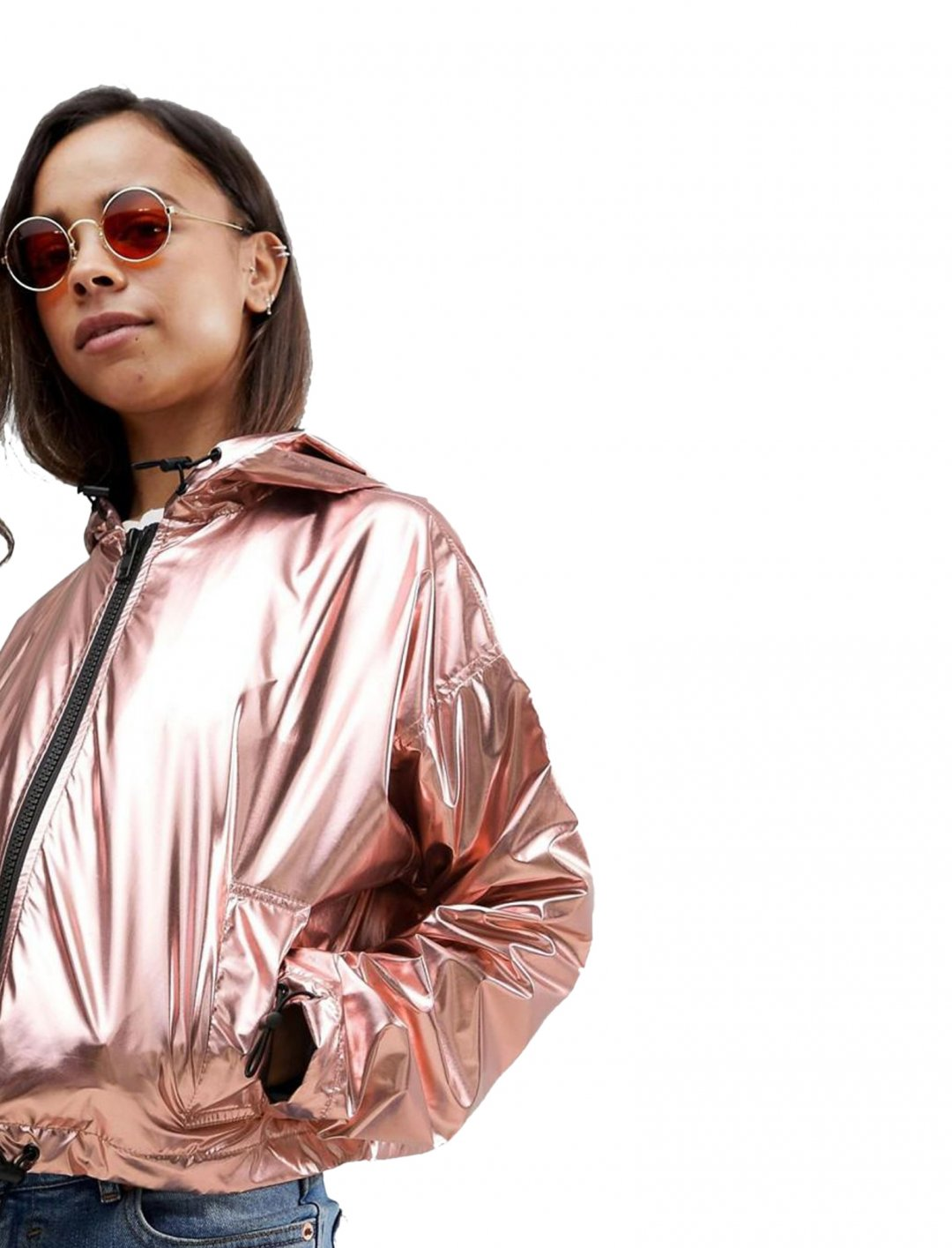 "Cropped Metallic Windbreaker {""id"":5,""product_section_id"":1,""name"":""Clothing"",""order"":5} Asos"