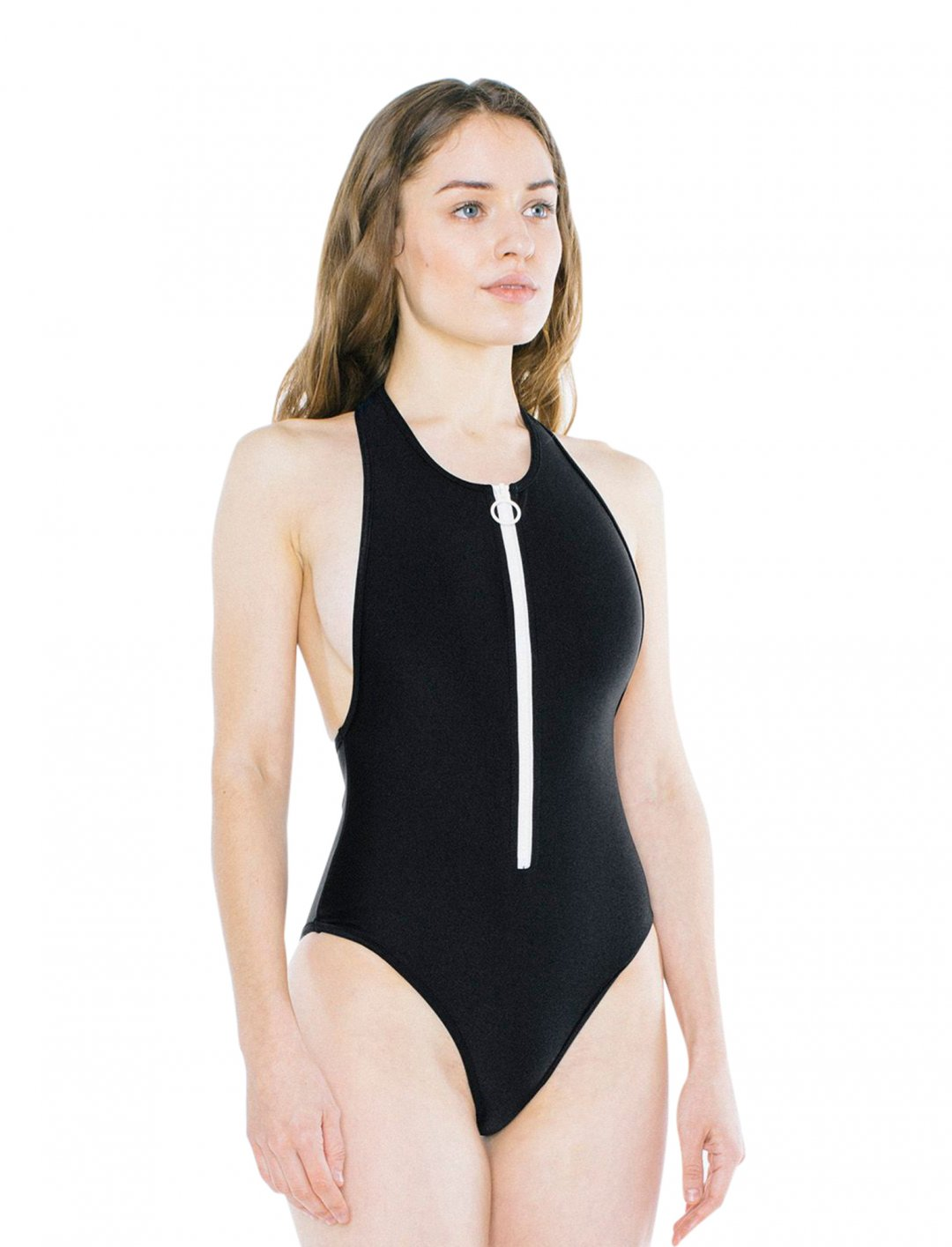"Nylon Tricot Zip Up One Piece {""id"":5,""product_section_id"":1,""name"":""Clothing"",""order"":5} American Apparel"